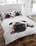 Pug Dog Quilt Duvet Cover and Pillowcase Bedding Set, White, Single