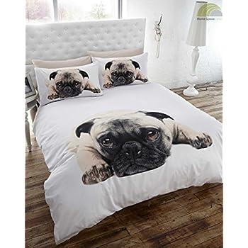 pug dog quilt duvet cover and pillowcase bedding set white single