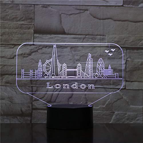 Fengdp Stadt London USB 3D led nachtlicht veilleuse Lampe Dekoration RGB Kinder Baby Geschenk berühmte gebäude tischlampe Nacht neon (Stadt Harmonische)