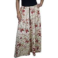 Women Long Skirts Ivory Floral Printed Gypsy Flirty Bohemian Maxi Skirts
