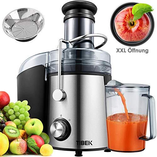 Entsafter TIBEK Juicer Machines Ultra 1000W Power, 75MM Weithals-Entsafter Zentrifugaler Entsafter Leicht zu reinigen, 2-Gang-Fruchtsaftpresse für ganzes Obst und Gemüse, rutschfeste Füße, Edelstahl