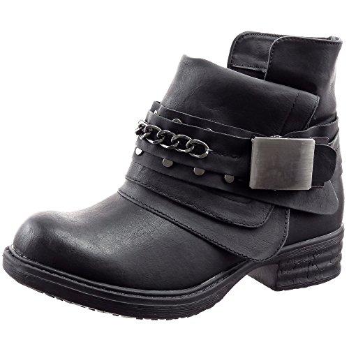 Sopily - Scarpe da Moda Stivaletti - Scarponcini Cavalier Biker alla caviglia donna Catena fibbia Tacco a blocco 3 CM - soletta sintetico - foderato di pelliccia - Nero FRF-3309-2 T 37 - UK 4