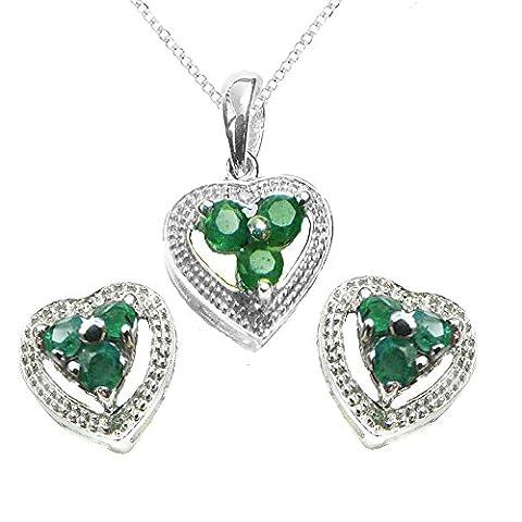 925Sterling Silber echte Smaragd und Diamant Heart Geschenk-Set, Anhänger, Ohrringe, Kette, in Geschenkverpackung für Ihre True Love