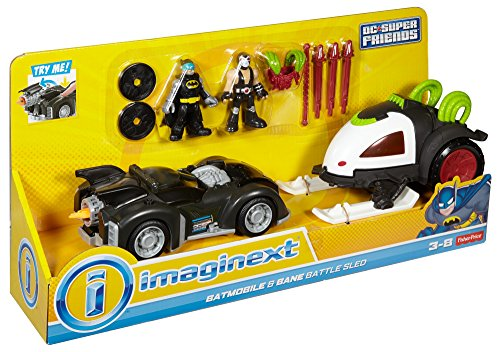 Fisher Price DC Super Friends Batman Imaginext Batmobile & Bane Battle Sled Figure Set by Imaginext
