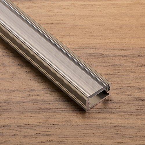 Preisvergleich Produktbild LED Profil-11 Edelstahloptik 2000 x 14 x 7 mm mit klarer Abdeckung für LED Streifen Aluminiumprofil Stripes von SO-TECH®