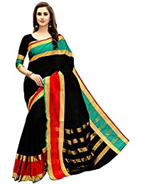 Glory Sarees Women's Cotton Silk Saree(jari121_black)