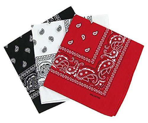 PURECITY Bandana Original Paisley Motif Cachemire Foulard Pur Coton Qualité Supérieure Vendu par Lot - 55cm x 55 cm - Nouvelle Collectio