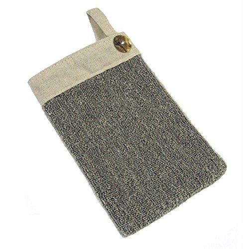 Luxus Peeling Sisal und Leinen Spa Handschuh mit Muschel Knopf (Sisal-waschlappen)