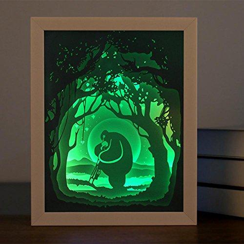OOFAY LIGHT® Licht und Schatten Papier geschnitzt Lichter Diy Schlafzimmer Nachttisch Wohnzimmer Schalter dekorative Tischlampen kreative warme romantische Geschenk