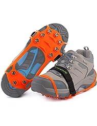 Steigeisen Schuhspikes mit 10 Noppen,Ice Klampen,Edelstahlnagel & Kieselgel Anti Rutsch Eisspikes für Den Stiefel,Schuhkralle.
