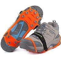 Versión mejorada de Ice Grips 10 Dientes Antideslizante Zapato / Bota Ice Traction Slip-on Snow Puntas de hielo Crampones Calas Estiramiento de la tracción del calzado,Gel de Sílice Más Resistente al Frío. (Naranja, XL)