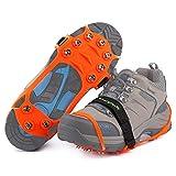 Songwin Version Mise à Jour de Glace Traction Crampons Antidérapant sur Chaussures/Bottes 10 Pointes en Acier la Glace la Neige Un Sac de Transport. (Orange, M)