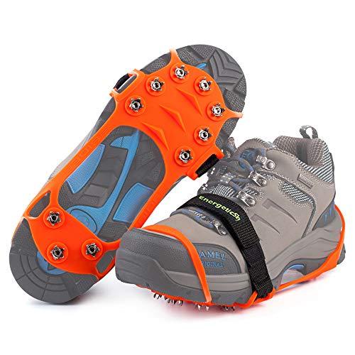 Songwin Schuhspikes Mit 10 Noppen,Schuhkralle,Kieselgel Anti Rutsch Eisspikes für Den Stiefel,Steigeisen. (Orange, S) -