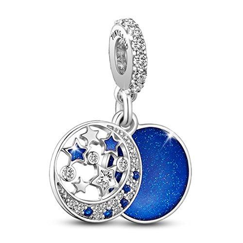 TinySand Bead Charm Doppio strato in argento 925 smaltato con zirconi blu Combinazione di luna e stelle adatta per gioielli Pandora Bracciali Collane Donna
