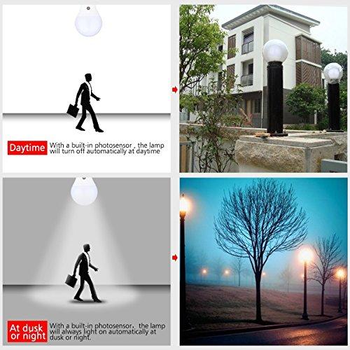 MFX E27/E26Filter Trafo 7Watt 630Lumens für LED Sensor Leuchtmittel Licht Lampe für Veranda Flur Terrasse Garage-eingebautem Photosensor Erkennung Automatische Schalter Energy Saver Licht (4000K)