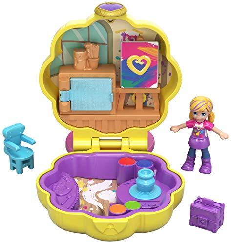 Polly Pocket Mini cofre de pintura, muñeca con accesorios (Mattel GCN10)