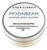 MOONBEAM MANTECA PARA EL CUERPO - 40g - de AMOR FLORUM - Una crema hidratante para el cuerpo con Mica para resaltar tu piel con un fino y elegante brillo. Para LABIOS, CARA, MANOS, CUERPO y CABELLO