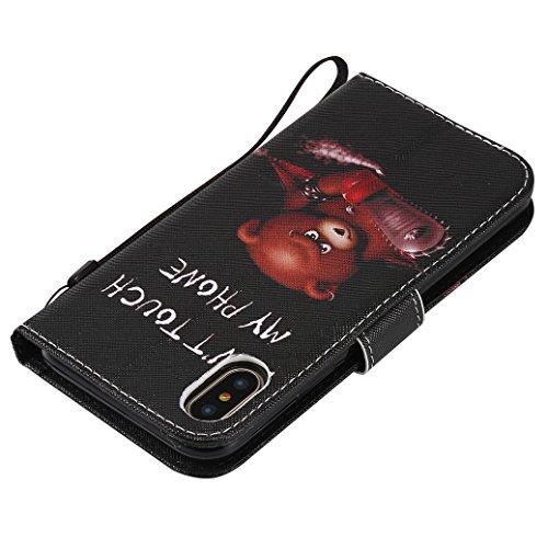 AllDo Klapp Schutzhülle für iPhone X PU Leder Hülle Bookstyle Ledertasche Brieftasche Mappen Kasten Flip Wallet Case Cover Weiche Schlanke Schale Flexibel Leichte Tasche Ultra Dünne Etui Standfunktion Verärgerter Bär