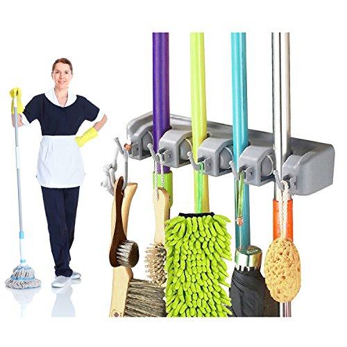 Gerätehalter – Exqline Werkzeughalter Gartengerätehalter Wandhalterung Besen Haken für Besen Mopp und Gartenwerkzeuge mit 5 Haken und 4 Schnellspannern Grau