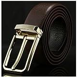 LOYT-Belt Cintura da Uomo con Fibbia in Silicone, Stile Casual Antico Cinture in Pelle Semplici Ed Eleganti, Nero E Marrone,Brown,B
