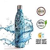 Moderne Edelstahl (ION) Trinkflasche/Water Bottle mit schönem Design 0,75L, Thermosflasche zum Kalt/Heiß halten Arbeit, Schule, Sport, Outdoor