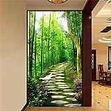 Fushoulu Hd Frische Kleine Straße Grün Bambus Wald 3D Foto Wandbild Tapete Eingang Flur Hintergrund Wand Fresko Wohnzimmer Hotel Decor-400X280Cm