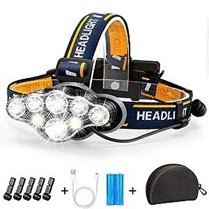 Stirnlampe, Superheller Kopflampe 18000 Lumen 8 LED 8 Modi mit Rotem Warnlicht, USB Stirnlampe Wiederaufladbare…