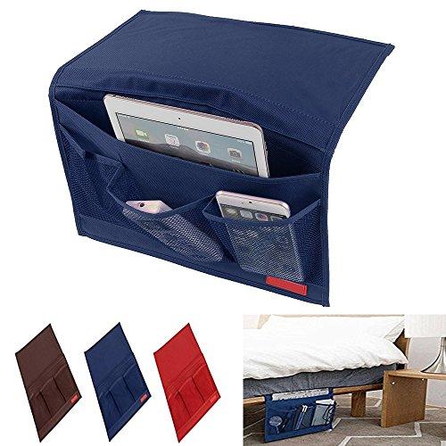 Guo - tasca portaoggetti da appendere, per scrivania, divano, sedia o letto, ideale per riporre telecomando, riviste, libri e molto altro blue