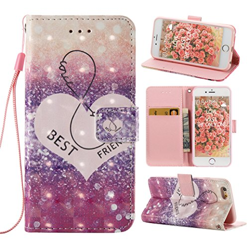 iPhone 6 Plus Hülle, iPhone 6S Plus Case, Rosa Schleife iPhone Handyhülle PU Ledertasche Etui Flip Wallet Cover Schutzhülle Premium TPU Silikon Bumper Bookstyle Magnetverschluss mit Glitzer Bling Schö B-Herz Best Friend