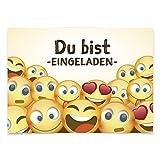 16 Einladungskarten zum Kindergeburtstag - Lustige Emojis - für Kinder, Jungen, Mädchen, Feier, Geburtstagseinladungen im Set