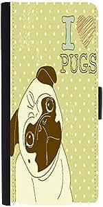 Snoogg I Love Pugs Cute Little Pug On Polka Dot Backgrounddesigner Protective...