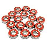 Zoty Lot de 8 roulements à bille type 608RS 608 2RS 608-2RS Rouge 8 x 22 x 7 mm Roulement à billes ABEC 7 Roulement à bille rainuré pour skateboards