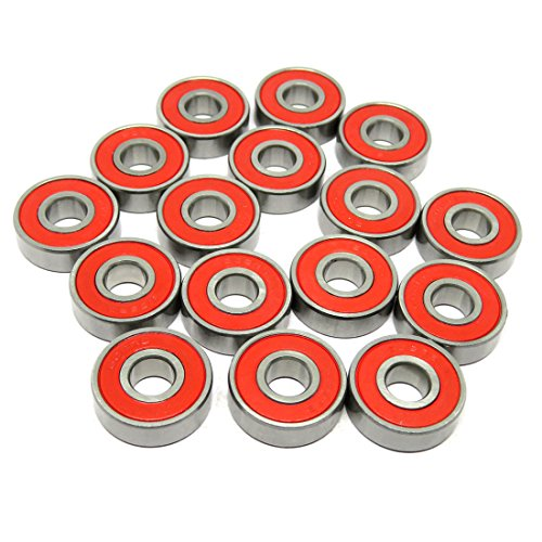 Zoty 8 Stück 8x22x7mm Kugellager 608-2RS Rot Gummidichtungen Kugellager Lager ABEC 7 Rillenkugellager für Skateboards 608RS 608 2RS
