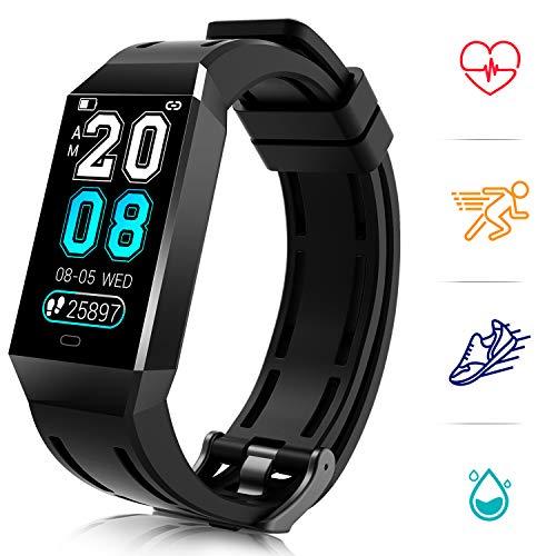 COULAX Fitness Armband mit Herzfrequenz, FitnessTracker 1.14 Zoll Wasserdicht IP68 Fitness Uhr Schrittzähler Pulsuhr Smartwatch Aktivitätstracker Kalorienzähler für Damen Herren IOS Android Handy