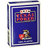 Modiano Italian Poker Game Playing Cards - Black Box Texas Poker - Blue Deck - Jumbo 2 Index - Single Card Deck - 100% Plastic Made in Italy