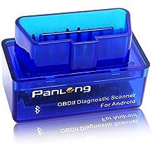 Panlong - Adaptador Bluetooth OBD2OBDII para diagnóstico de coche (luz de revisar motor) para Android - Compatible con Torque Pro