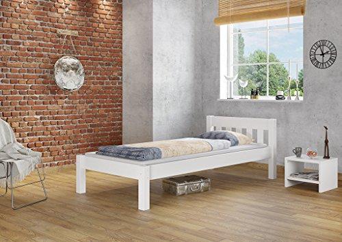 Erst-Holz® Jugendbett Kiefer weiß 90×200 Massivholzbett Futonbett Einzelbett ohne Zubehör 60.38-09 W oR