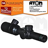 ATOM Optics 1-4X20 Compact rifle scope with illuminated reticle (20mm Weaver mounts)