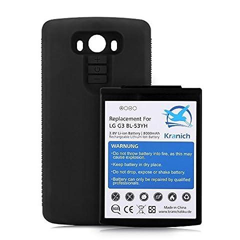 Kranich Li-ion Batterie de Haute Capacité 8000mAh pour LG G3 BL-53YH Batterie rechargeable de remplacement pour voyage longue avec une Cache Coque Etui Housse TPU noir LG G3 (Batterie + Cache Noir)