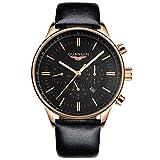 guanqin Luxus beliebten Marke Fashion Herren Leder Quarz Analog Armbanduhr Wasserdicht Luminous Moon Phase Casual schlichtes Design Gold Schwarz