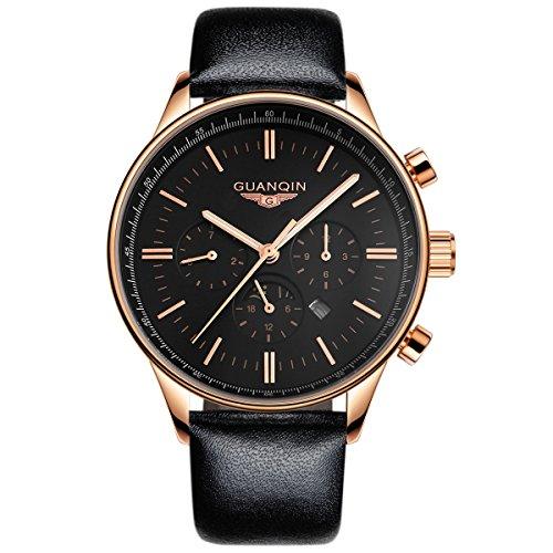 guanqin Luxus beliebten Marke Fashion Herren Leder Quarz Analog Armbanduhr Wasserdicht Luminous Moon Phase Casual schlichtes Design Gold Schwarz (Phase Linie)