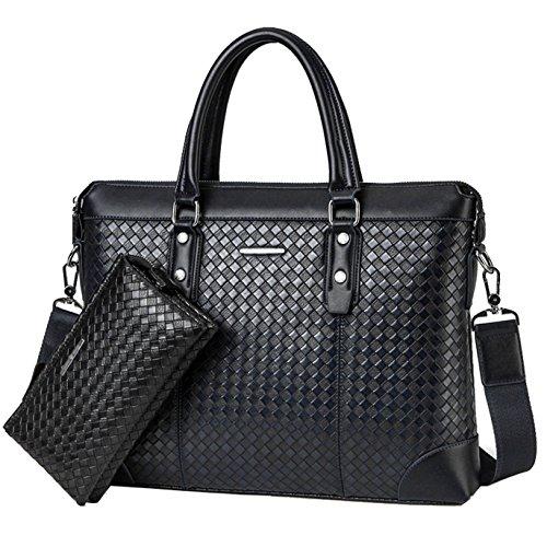 Kunstleder mode weisehandtasche horizontaler abschnitt koreanische schulterbeutelfreizeit strickende aktenkoffer(Schwarzes) Schwarz