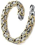 Pulsera con acero inoxidable para hombre, pulsera de cadena bizantino, oro y plata de color, 23cm