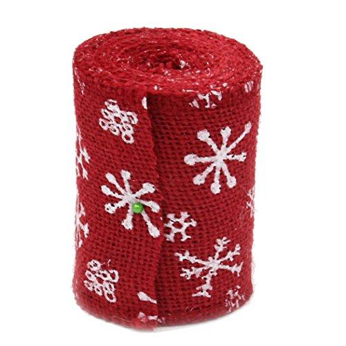 10 cm 3 m Flocon de neige Décoration de table Craft en toile de jute Rouleau de ruban en toile de jute rustique fête de Noël Fournitures