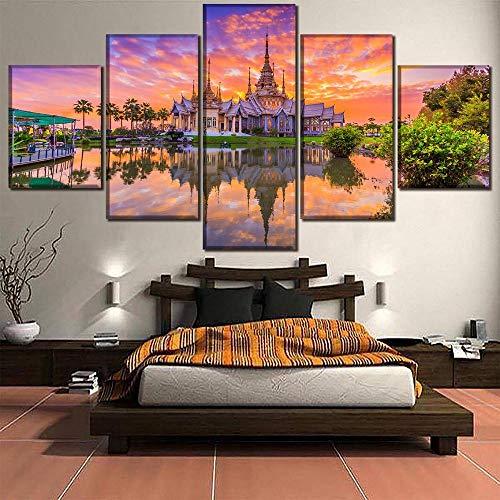 exion Sonnenuntergang Thailand Religiöse Tempel Malerei Wohnkultur Wand Moderne Leinwand Druck Typ Poster Für Wohnzimmer ()
