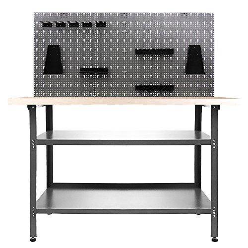 Ondis24 Werkstatteinrichtung 120 cm Werkbank Nobbi, Metall, Lochwand mit Hakensortiment (Arbeitshöhe 95 cm, Schwarz)