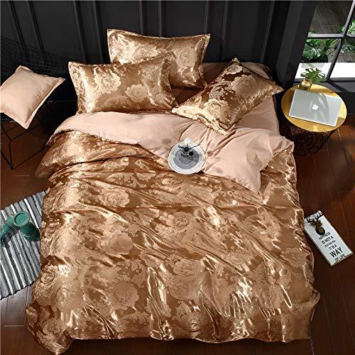 WAWA Komfortabel, warm, waschbar, langlebig und pflegeleicht,Bettwäsche Satin Jacquard Bettbezug einfarbig Bettlaken Set von 4 Licht Kaffee Farbe 200 * 230cm -