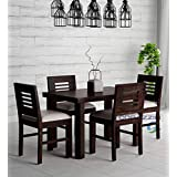 Corazzin Wood Sheesham Wood Dining Table 4 Seater | Wooden Dining Room Furniture | 4 Chairs with Cushion | Warm Chestnut Finish