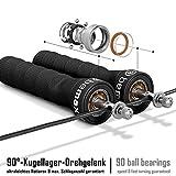 Springseil Speed Rope von BeMaxx Fitness + Trainingsguide & Extra Seil – 2 verstellbare Stahlseile, Profi Kugellager & Anti-Rutsch Griffe - 2