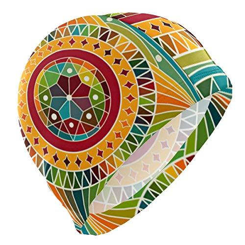 Suhatt Gorro de Natacion, Gorro de baño, Beautiful Mandala Rainbow Lycra Swim Cap Swimming for Women Men